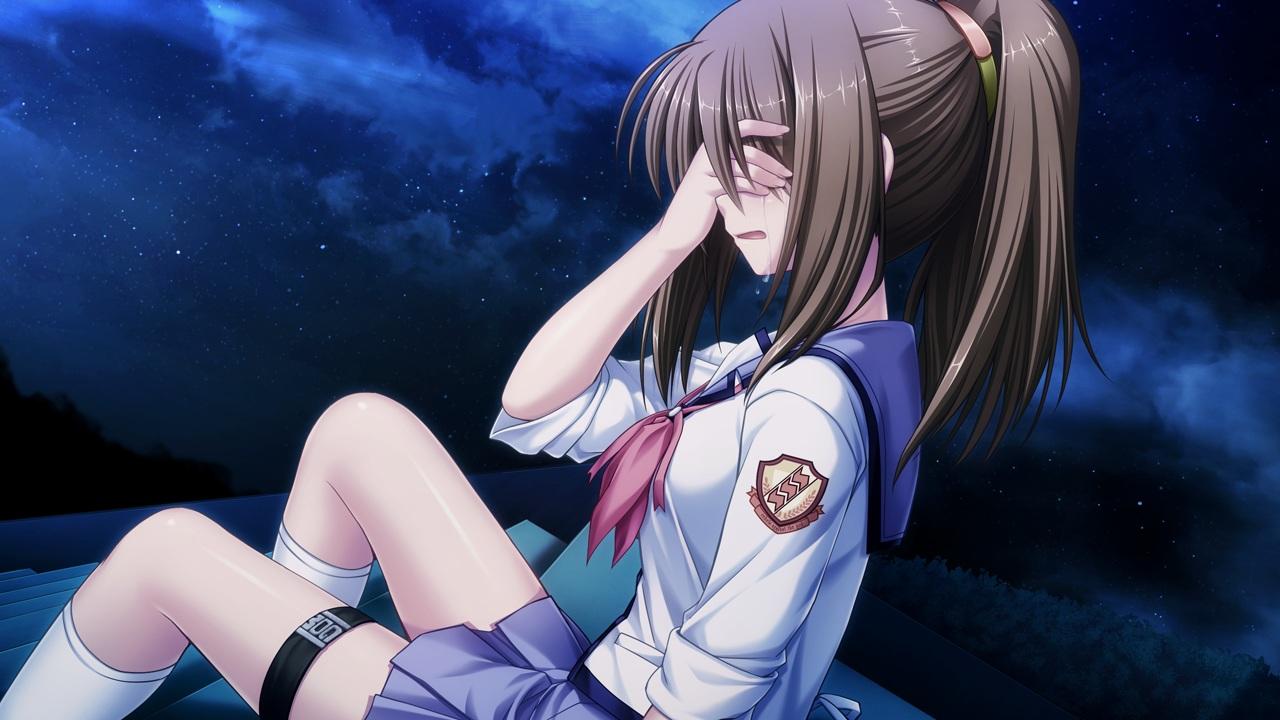 angel_beats! brown_hair crying game_cg hisako key long_hair na-ga night ponytail school_uniform shirt skirt socks stars tears