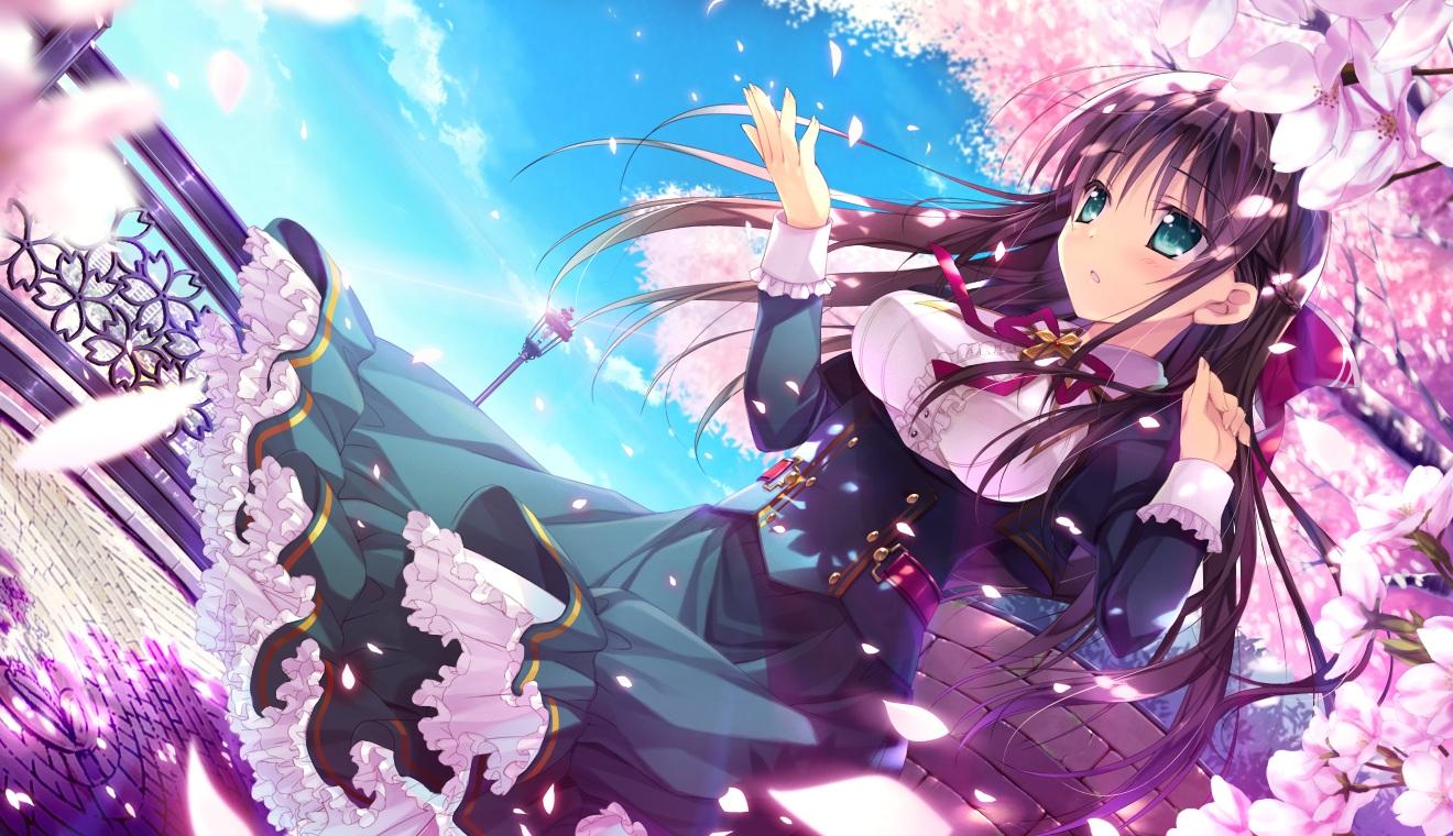 ashishun blue_eyes cherry_blossoms dress flowers game_cg kokonoka kuragano_sera long_hair marmalade petals primal_x_hearts purple_hair sasorigatame tagme