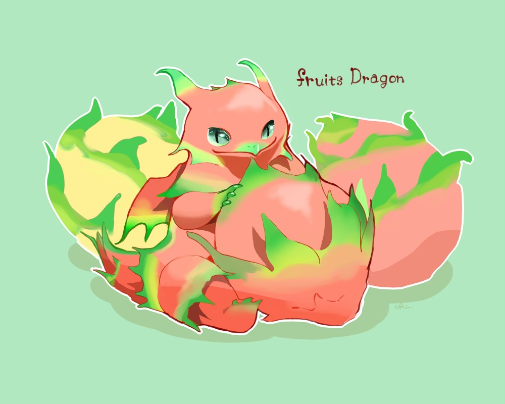 chai_(artist) dragon food fruit green nobody original polychromatic signed