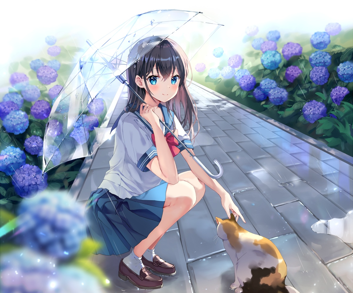 animal brown_hair cat flowers long_hair mayo_(miyusa) original rain school_uniform skirt socks umbrella water
