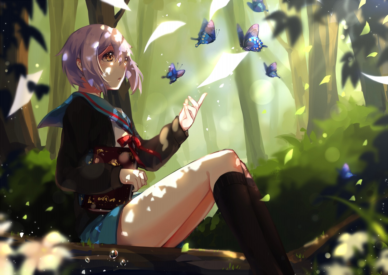 blush book bow brown_eyes butterfly forest kneehighs leaves nagato_yuki purple_hair ribbons school_uniform short_hair skirt suzumiya_haruhi_no_yuutsu tree yuzhi