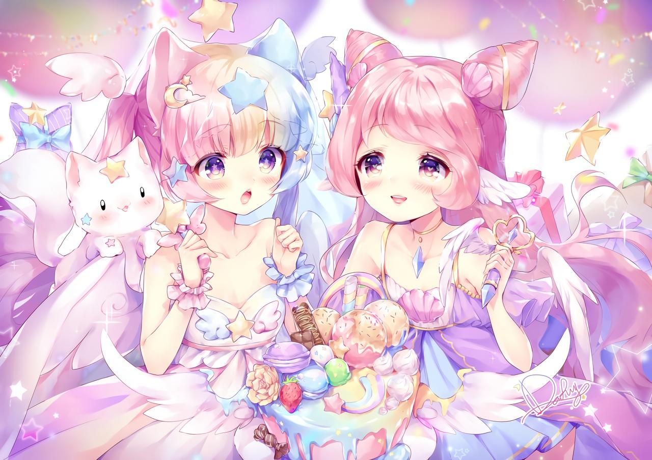 2girls animal animal_ears blush cake chocolate daefny food ice_cream long_hair original pink_hair purple_eyes signed twintails wings
