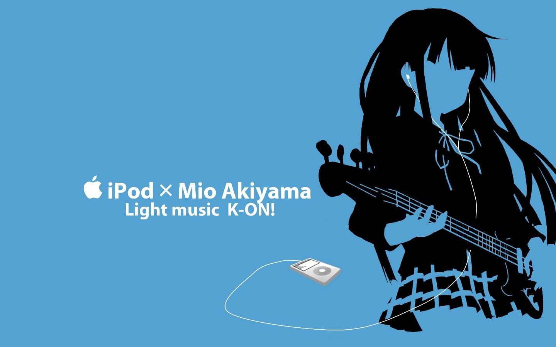 akiyama_mio blue ipod k-on! kisoba silhouette