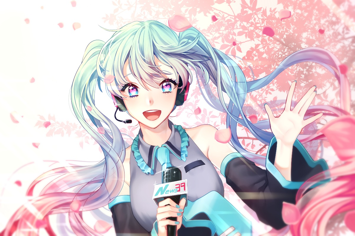 cherry_blossoms flowers hatsune_miku iso1206 long_hair microphone twintails vocaloid