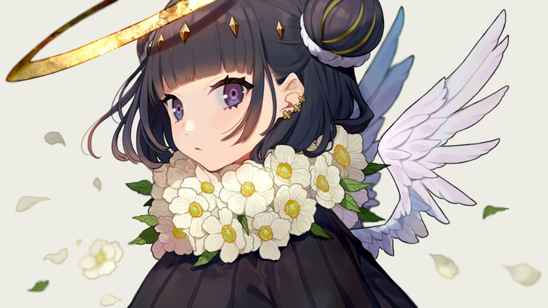 angel black_hair close flowers gray halo leaves original petals purple_eyes short_hair wings yuu_(higashi_no_penguin)
