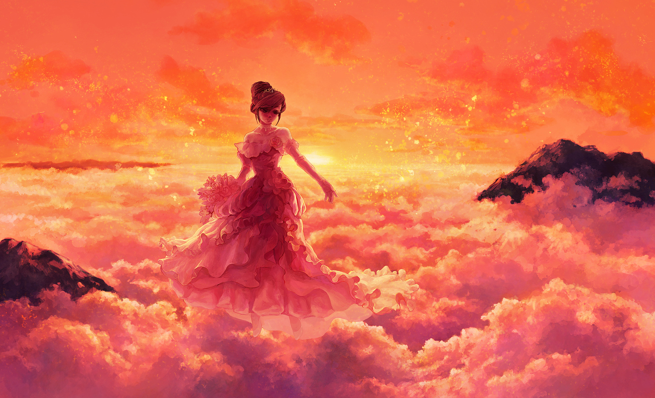 brown_hair clouds dress flowers original scenic shtlmi sky sunset wedding_dress