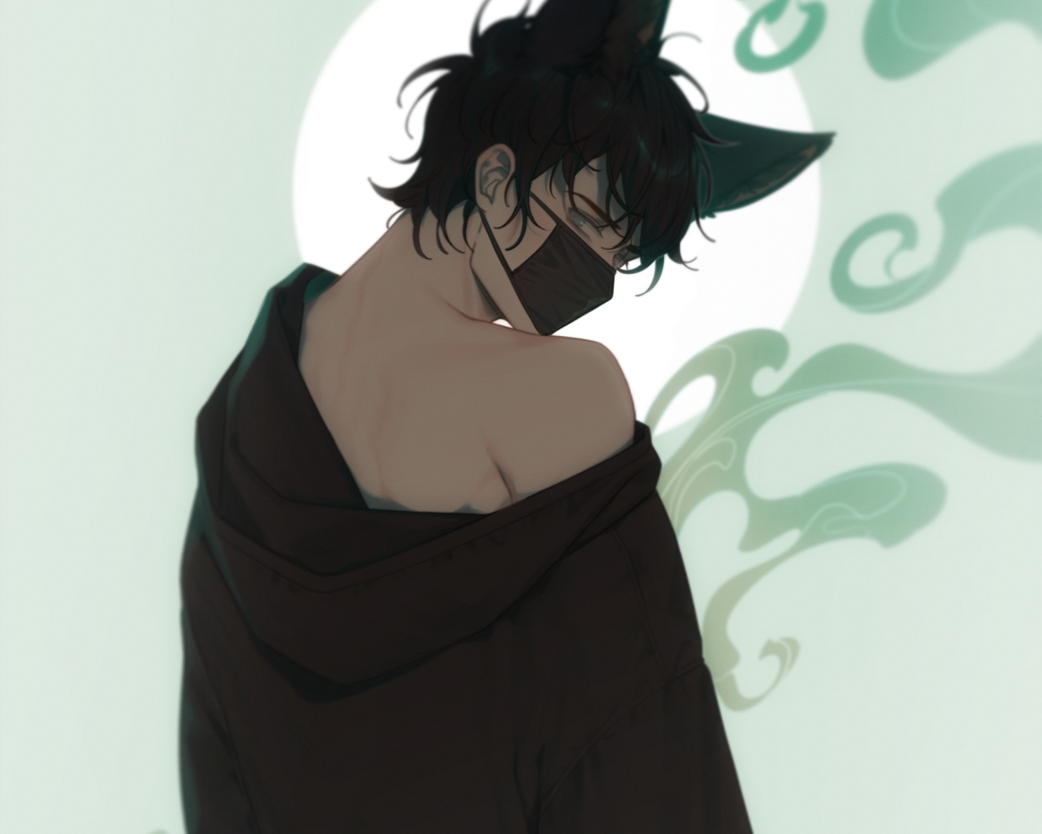 all_male animal_ears black_hair catboy cropped e7_(runaway162) hoodie male mask original short_hair