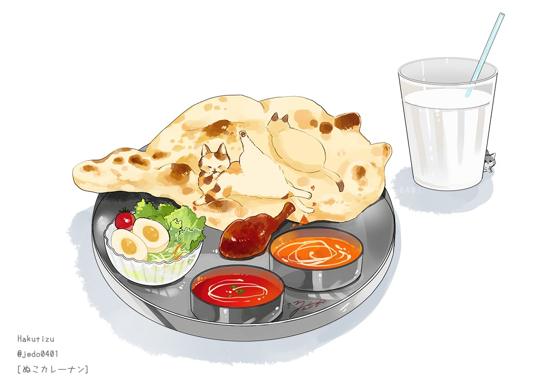 animal cat drink food hakuchizu_(jedo) nobody original signed watermark white