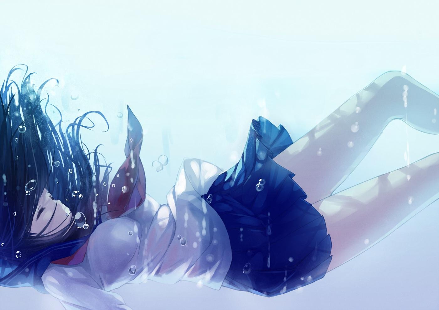 black_hair bubbles caidychen long_hair original school_uniform skirt sleeping tie underwater water