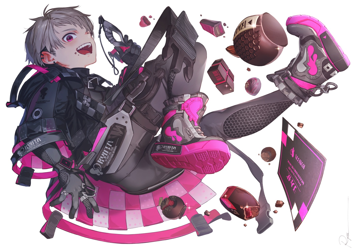 all_male bodysuit boots candy chocolate gloves gray_hair hoodie male mask original pink_eyes ryota_(ry_o_ta) short_hair