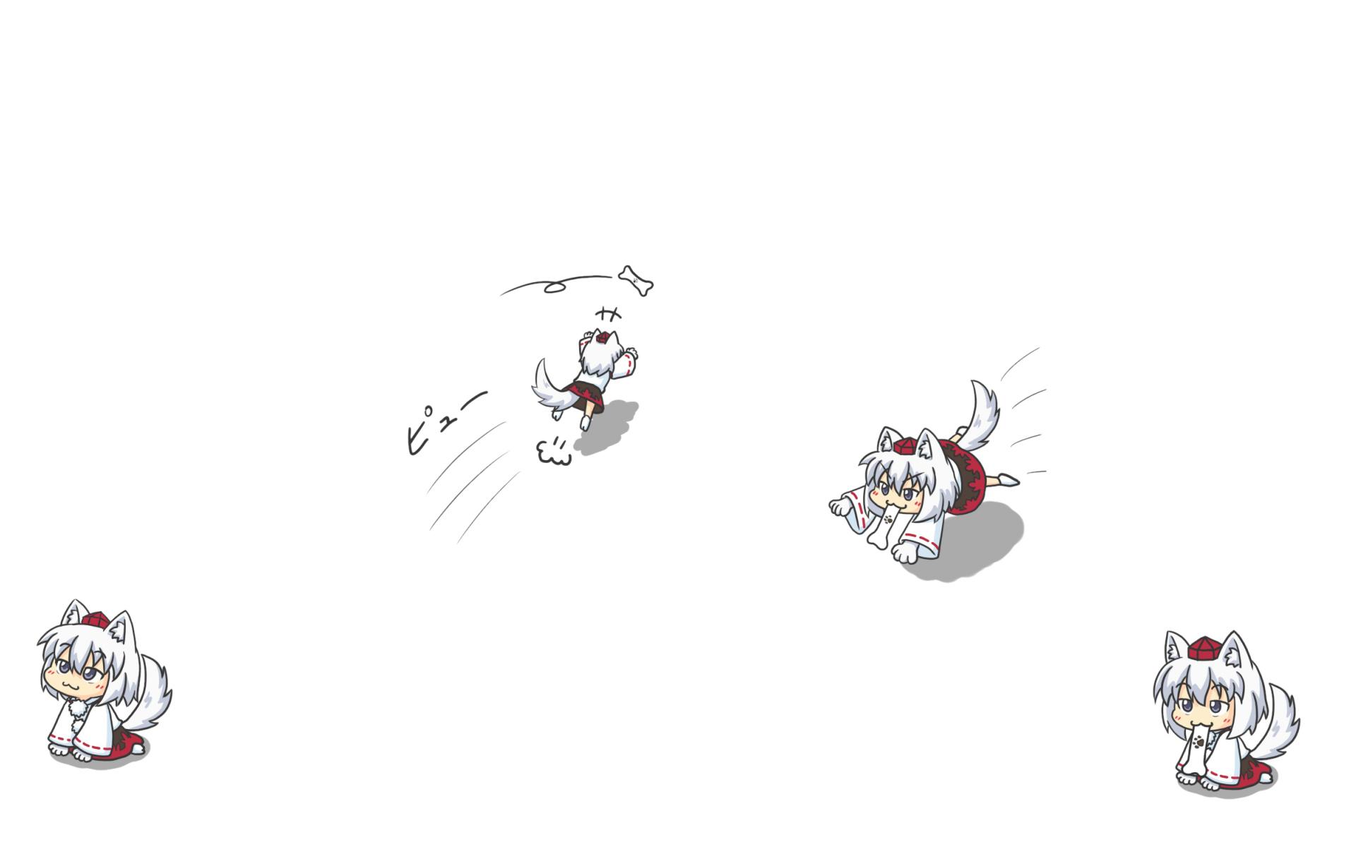animal_ears cat_smile chibi hat inubashiri_momiji kakushiaji tail touhou white wolfgirl