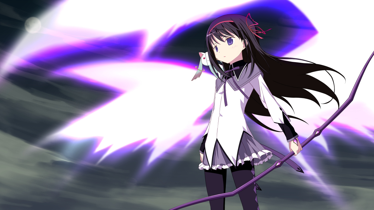 akemi_homura black_hair blush bow_(weapon) kyuubee long_hair mahou_shoujo_madoka_magica moon moritan pantyhose purple_eyes ribbons skirt sky weapon wings