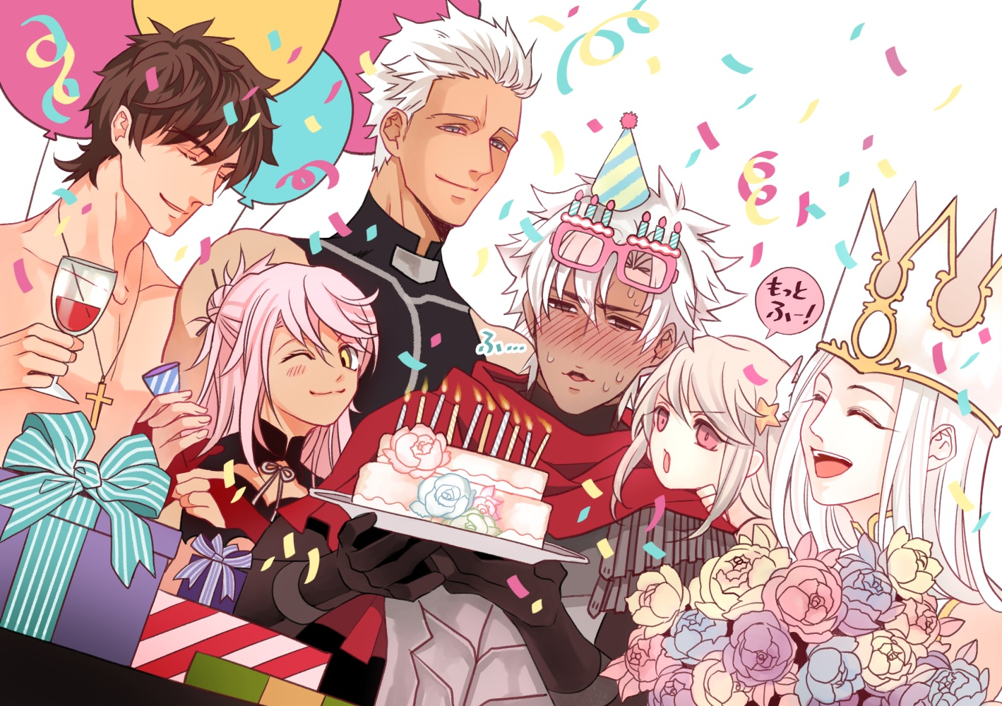 archer armor blush brown_eyes brown_hair cake cape chloe_von_einzbern cross crown drink elbow_gloves fate/grand_order fate_(series) flowers food glasses gloves gray_eyes group illyasviel_von_einzbern irisviel_von_einzbern kotomine_kirei loli long_hair male necklace pink_hair red_eyes shirou_kotomine short_hair tagme_(artist) white_hair wink yellow_eyes