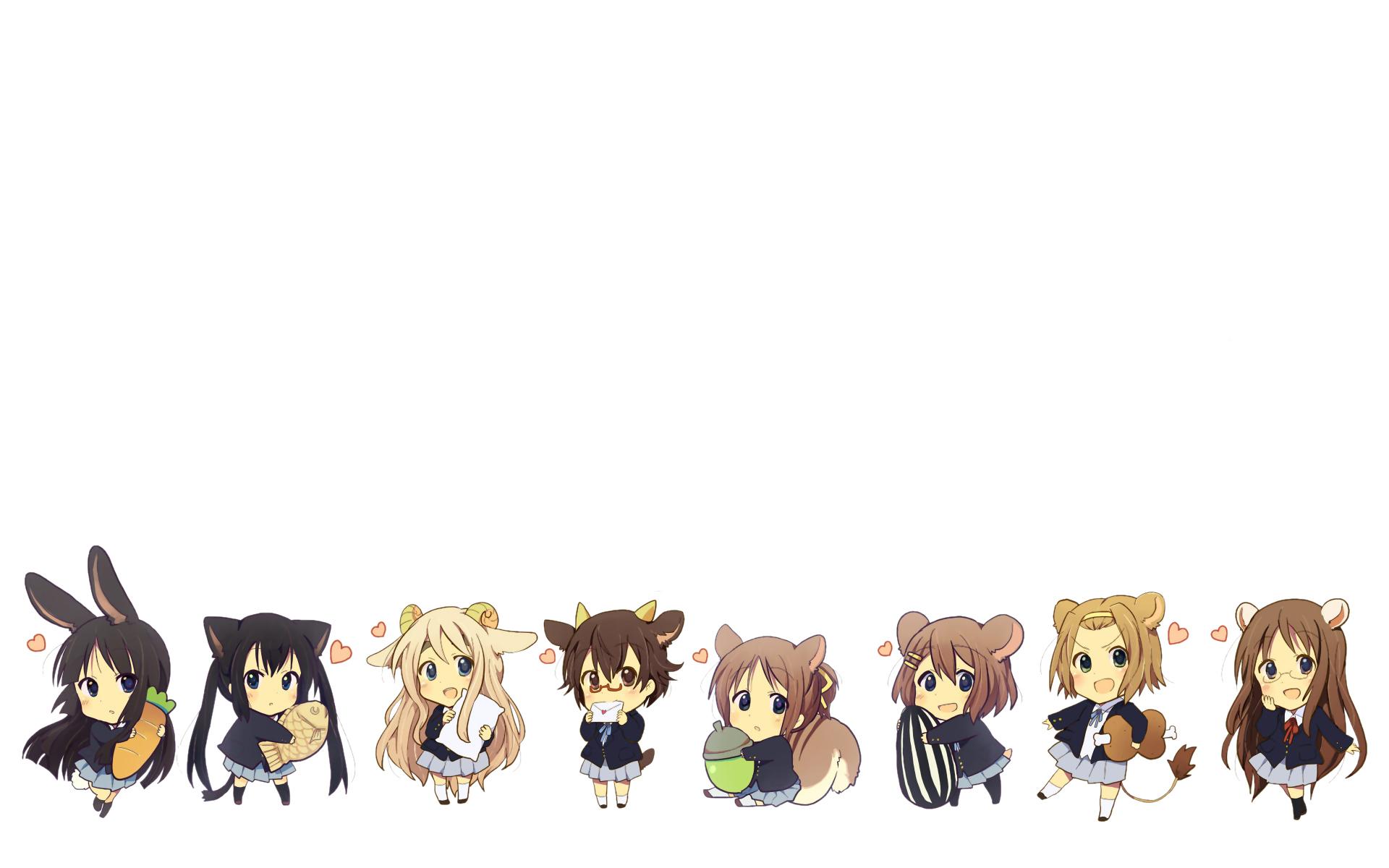 akiyama_mio animal_ears bunnygirl catgirl chibi food glasses gum_(vivid_garden) hirasawa_ui hirasawa_yui k-on! kotobuki_tsumugi manabe_nodoka nakano_azusa pantyhose seifuku skirt tail tainaka_ritsu taiyaki yamanaka_sawako