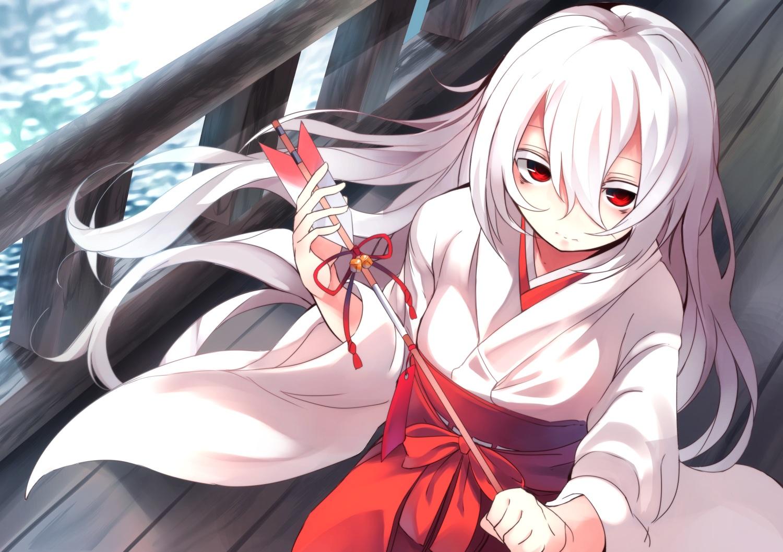japanese_clothes kimono long_hair miko original otokuyou red_eyes shiroi_ko_(otokuyou) white_hair