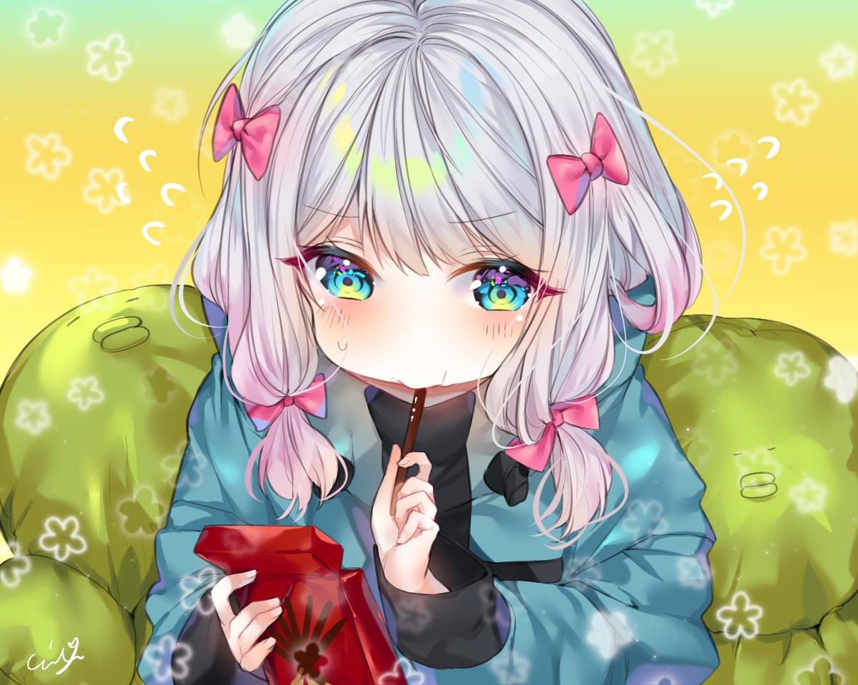 aqua_eyes blush bow close cropped eromanga-sensei food gradient gray_hair hoodie izumi_sagiri pocky signed urim_(paintur)