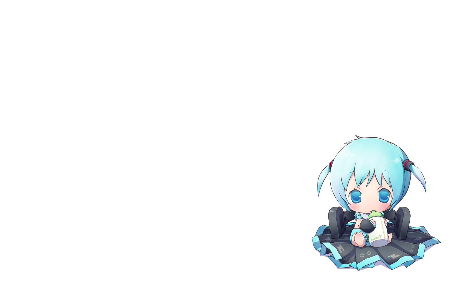chibi chitose_kiiro hatsune_miku twintails vocaloid white