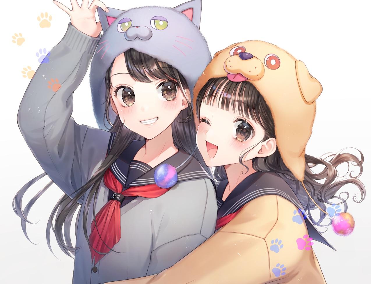 18girls animal ears black hair brown eyes brown hair close hat hug ...