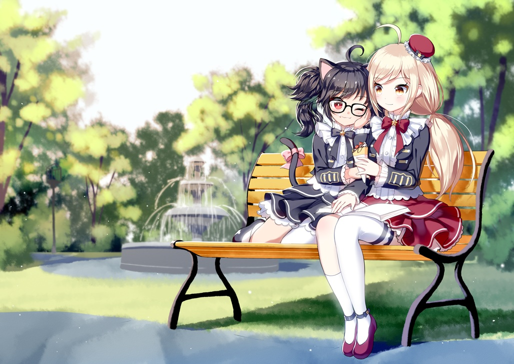 2girls animal_ears black_hair blonde_hair book bow catgirl food glasses grass kneehighs long_hair original park red_eyes short_hair tagme_(artist) tail thighhighs tree wink yellow_eyes