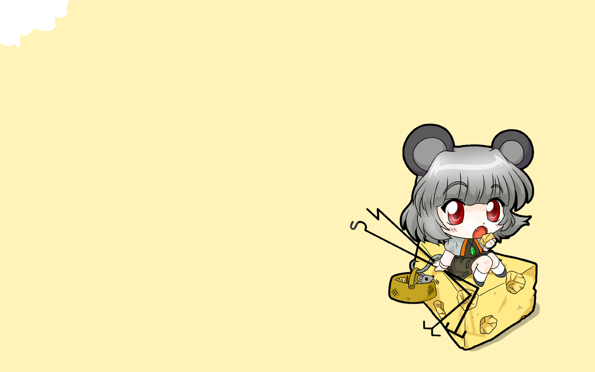 animal animal_ears chibi fang mouse mousegirl nagisuke nazrin red_eyes tail touhou
