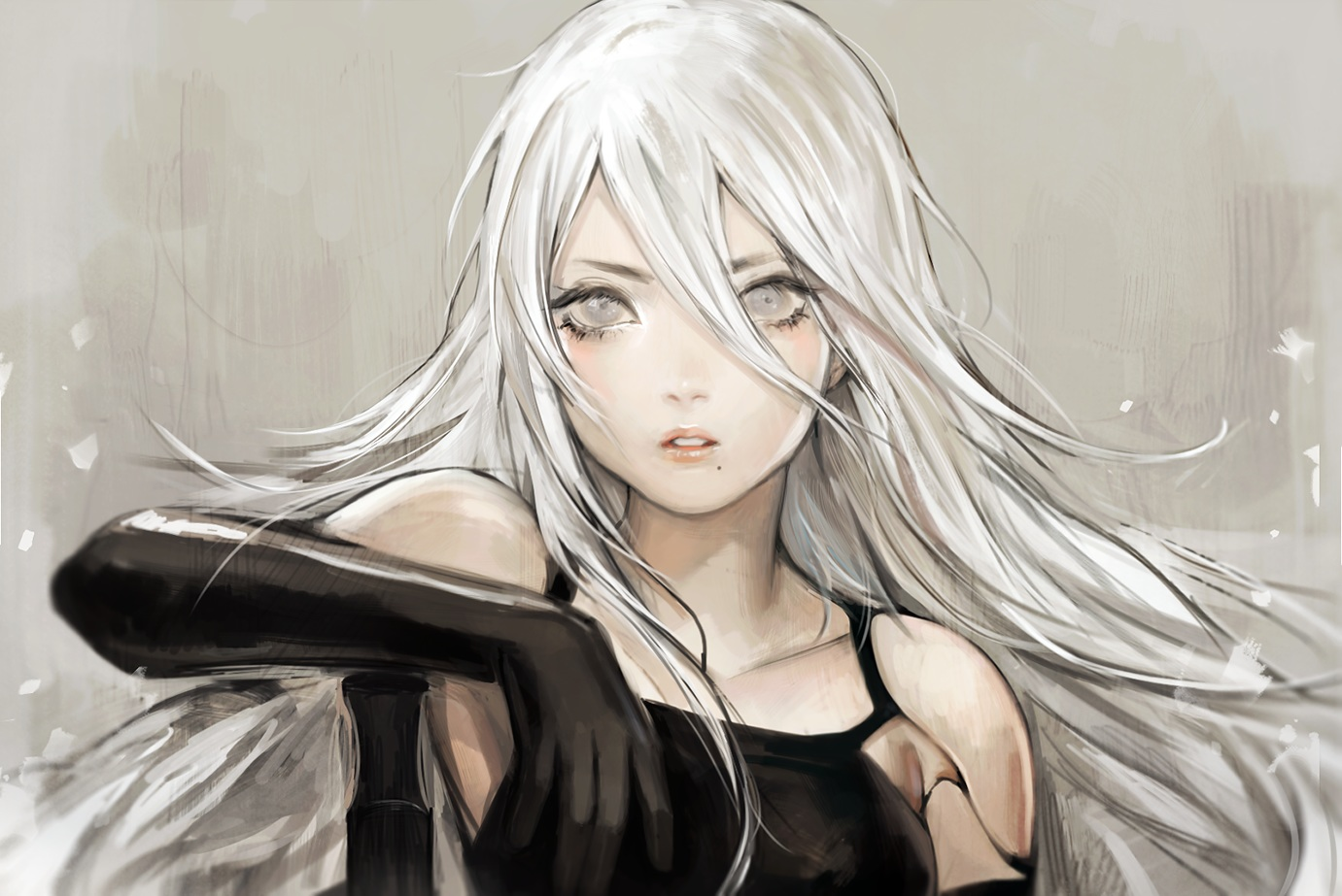 elbow_gloves gloves gray_eyes long_hair nier nier:_automata polychromatic viorie white_hair yorha_unit_no._2_type_a