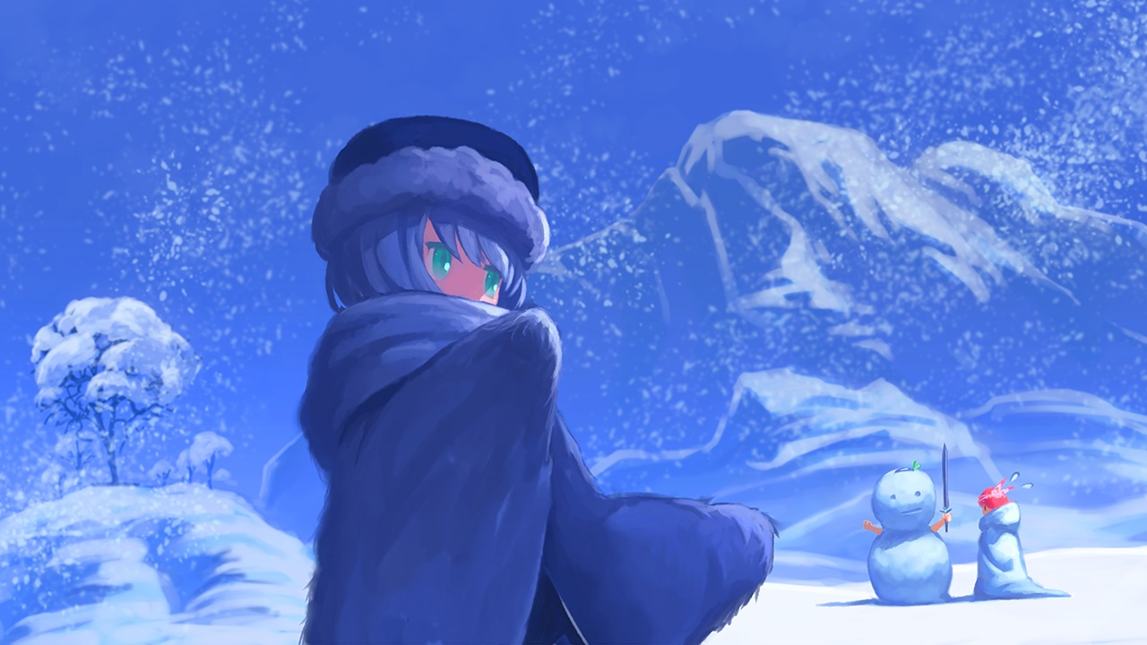 blue blue_hair green_eyes hat pink_hair short_hair snow snowman tree winter yamadori_enka