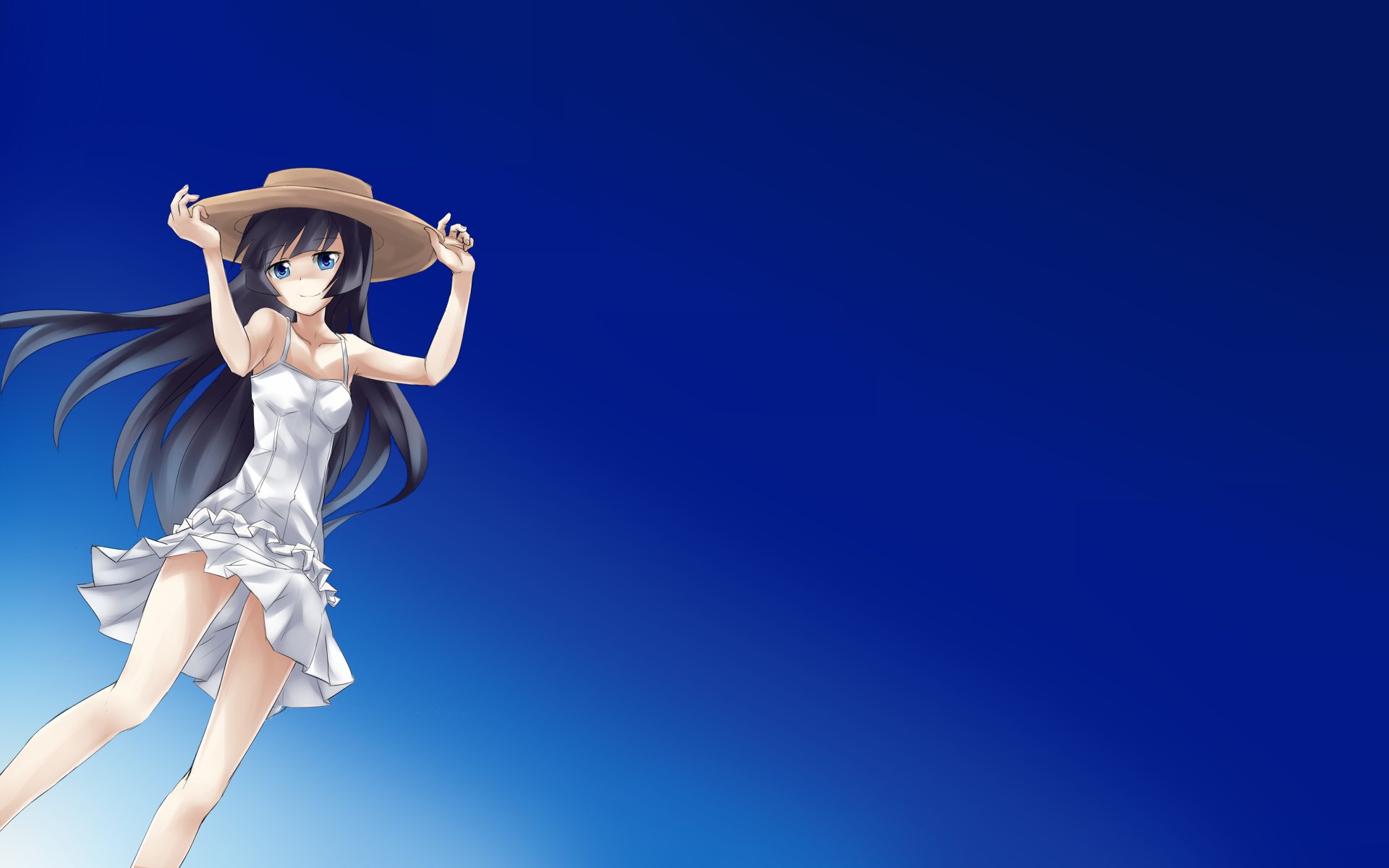 black_hair blue_eyes dress gokou_ruri gradient hat keikotsu long_hair ore_no_imouto_ga_konna_ni_kawaii_wake_ga_nai sky