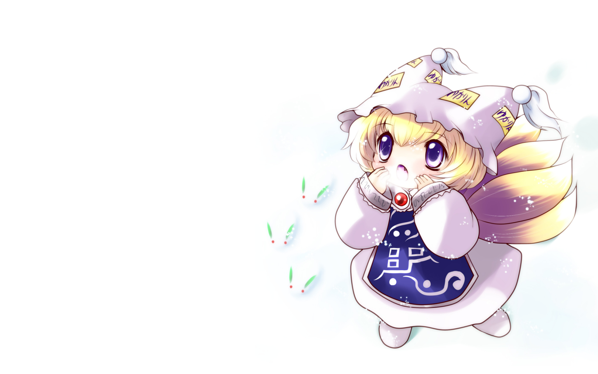 animal_ears chibi foxgirl multiple_tails snow tail touhou white yakumo_ran yume_shokunin