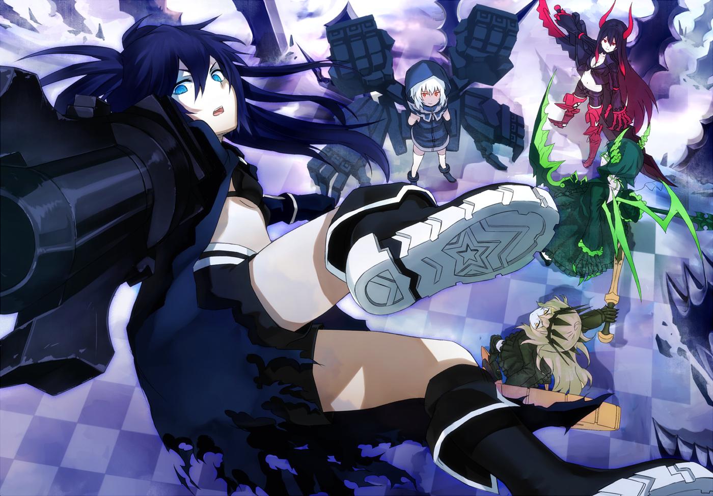 black_rock_shooter blue_eyes blue_hair hoodie irino_saya ken_(fkenorat) koutari_yuu kuroi_mato takanashi_yomi weapon