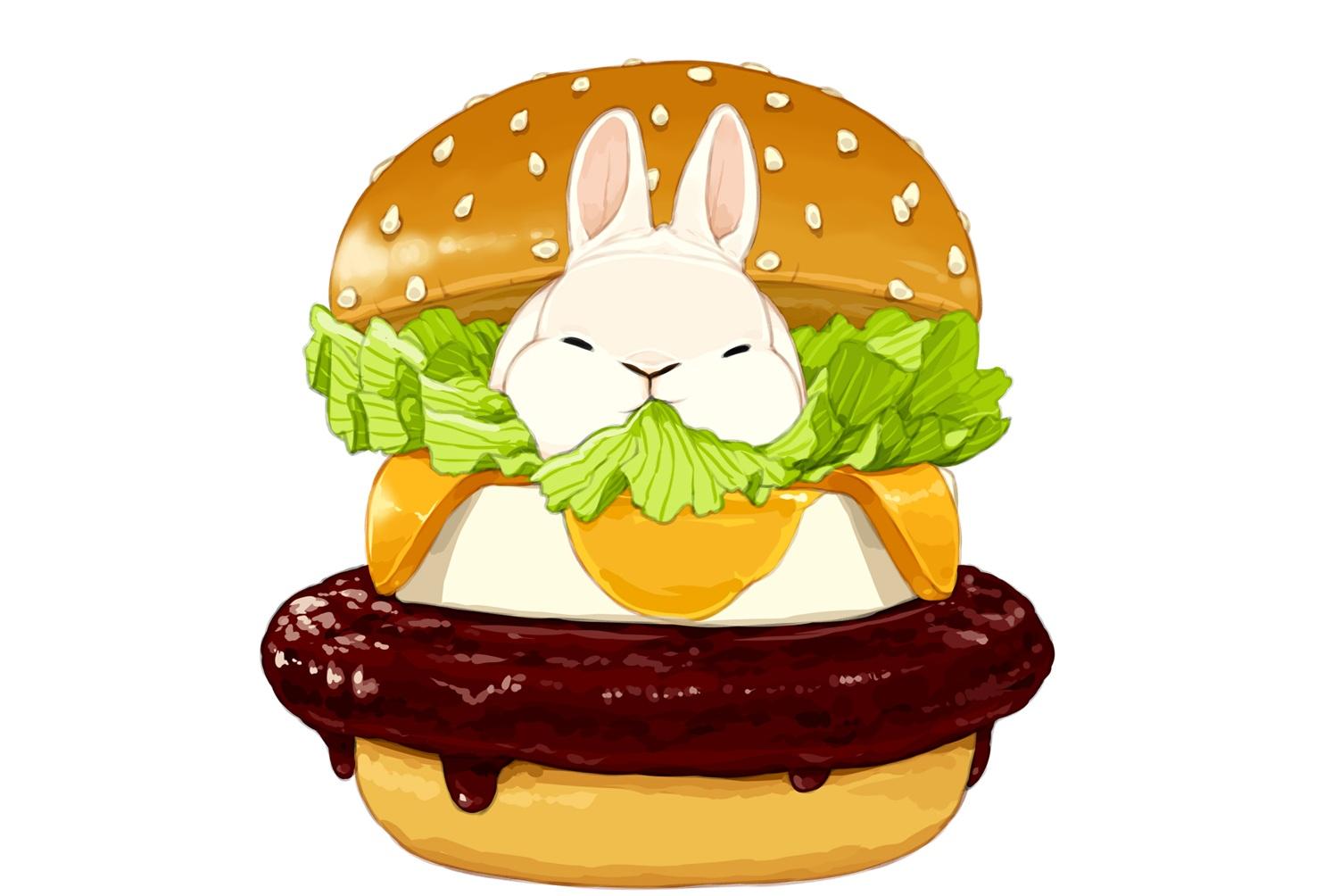 animal food lilac_(pfeasy) nobody original rabbit waifu2x white