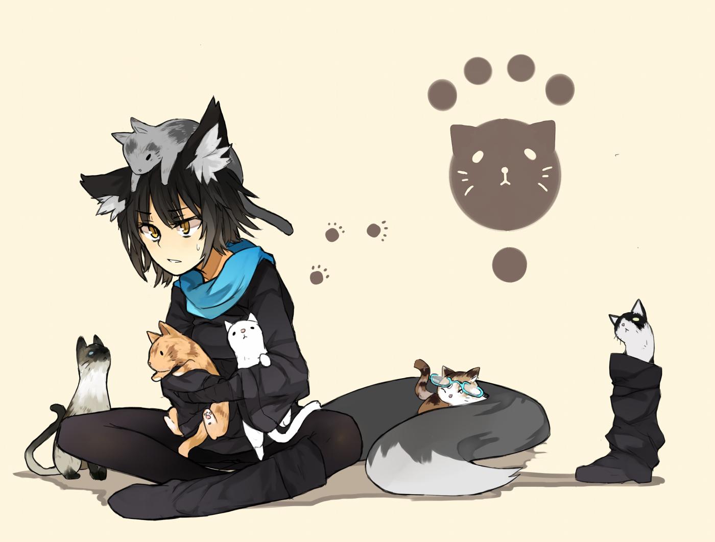 animal animal_ears black_hair boots cat foxgirl ganesagi glasses nanako_(ganesagi) original scarf tail yellow_eyes
