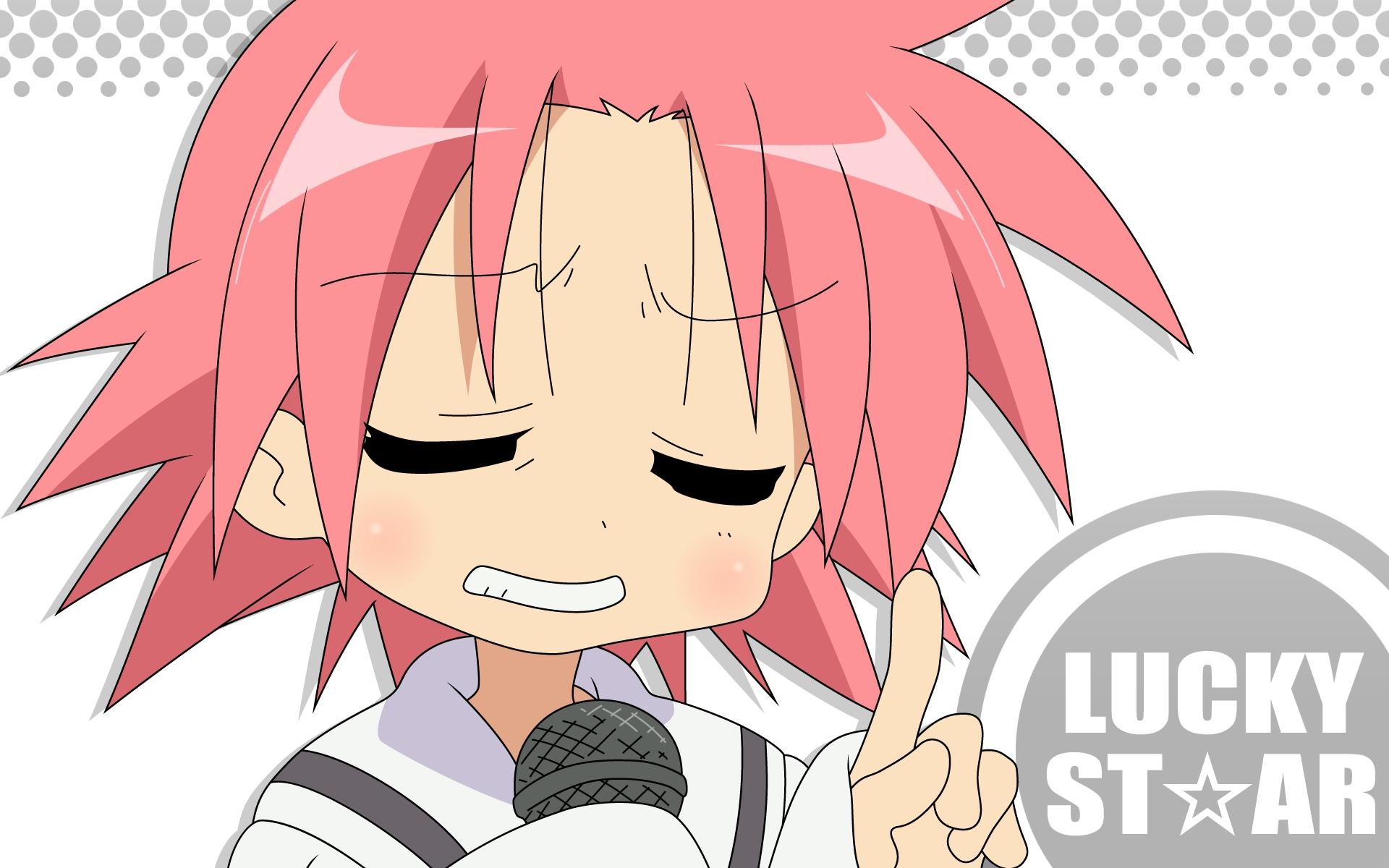 close kogami_akira lucky_star microphone pink_hair white