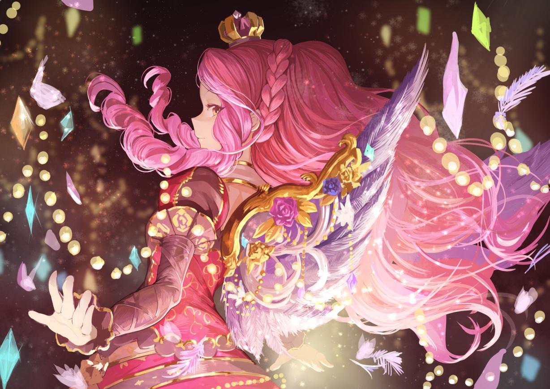 aikatsu! braids crown elza_forte koruse long_hair orange_eyes pink_hair