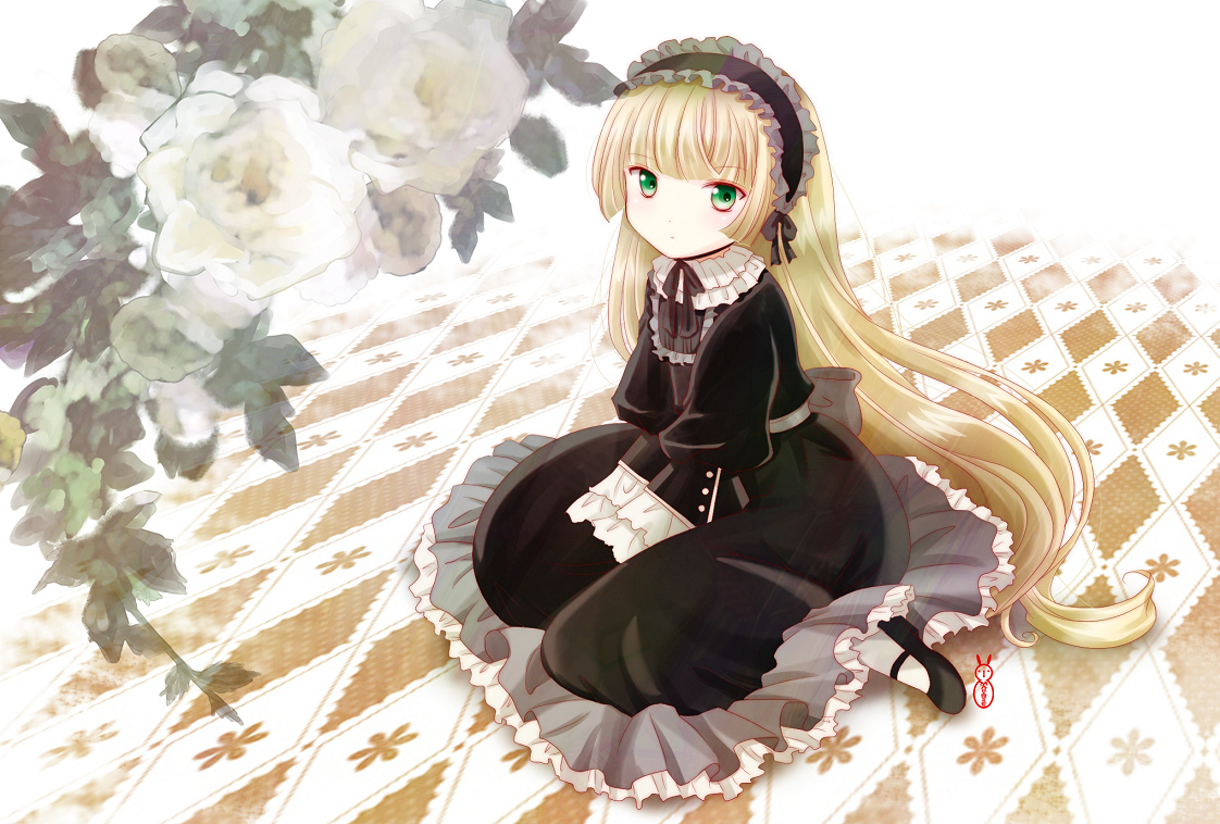 blonde_hair dress flowers gosick goth-loli green_eyes long_hair machinosuke victorique_de_broix