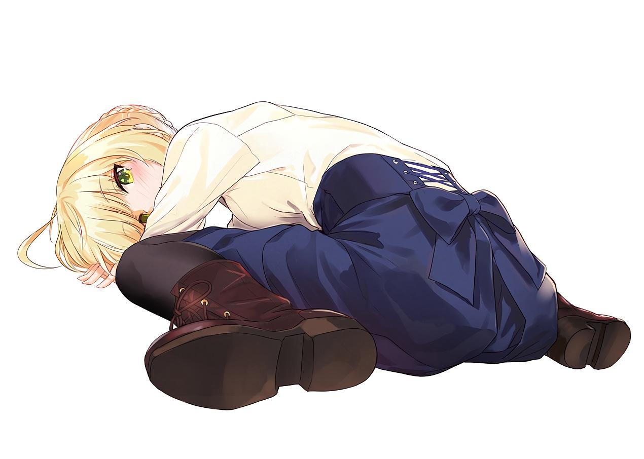 aliasing artoria_pendragon_(all) blonde_hair blush boots bow braids fate_(series) fate/stay_night green_eyes miruto_netsuki pantyhose saber shirt short_hair skirt white