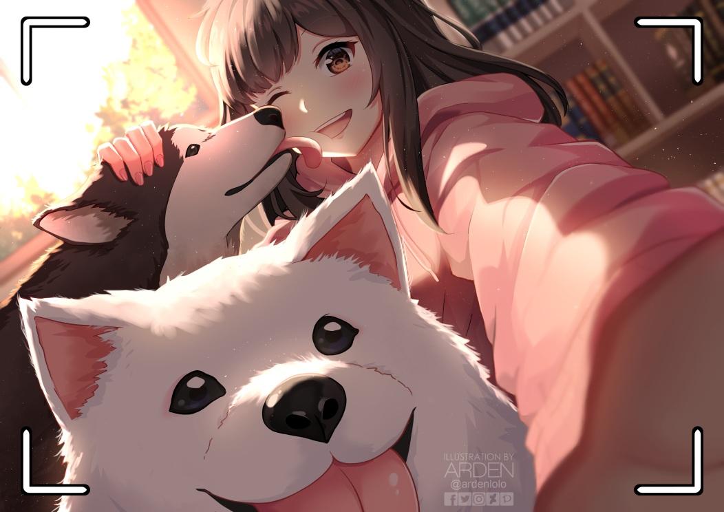animal ardenlolo blush book brown_eyes brown_hair camera close dog hoodie long_hair original watermark wink