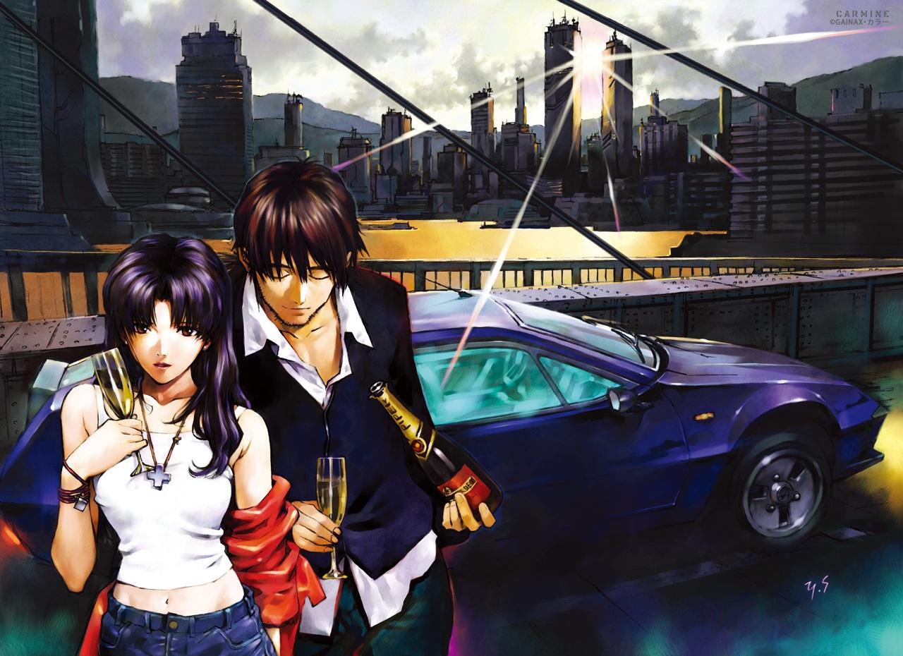 building car city drink gainax katsuragi_misato male neon_genesis_evangelion ryoji_kaji sadamoto_yoshiyuki signed watermark