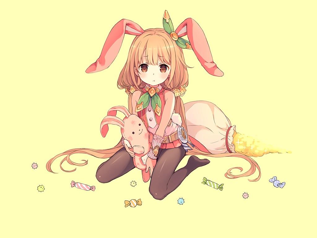 animal_ears blonde_hair brown_eyes bunny bunny_ears bunnygirl candy cosplay crossover futaba_anzu granblue_fantasy idolmaster idolmaster_cinderella_girls loli long_hair pantyhose third-party_edit twintails wristwear yashiro_seika yellow
