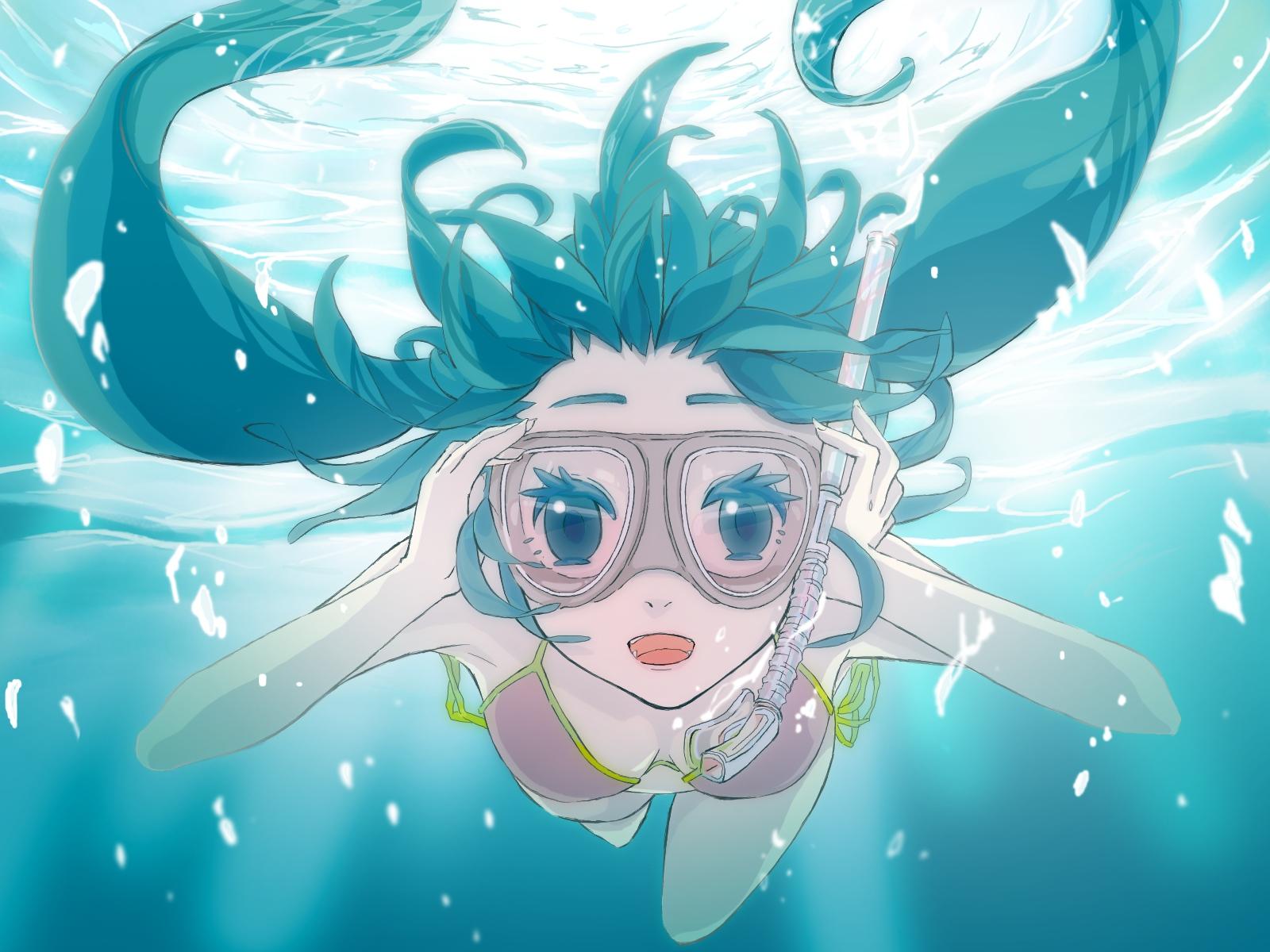 bikini gabaisuito-n goggles hatsune_miku swimsuit underwater vocaloid water