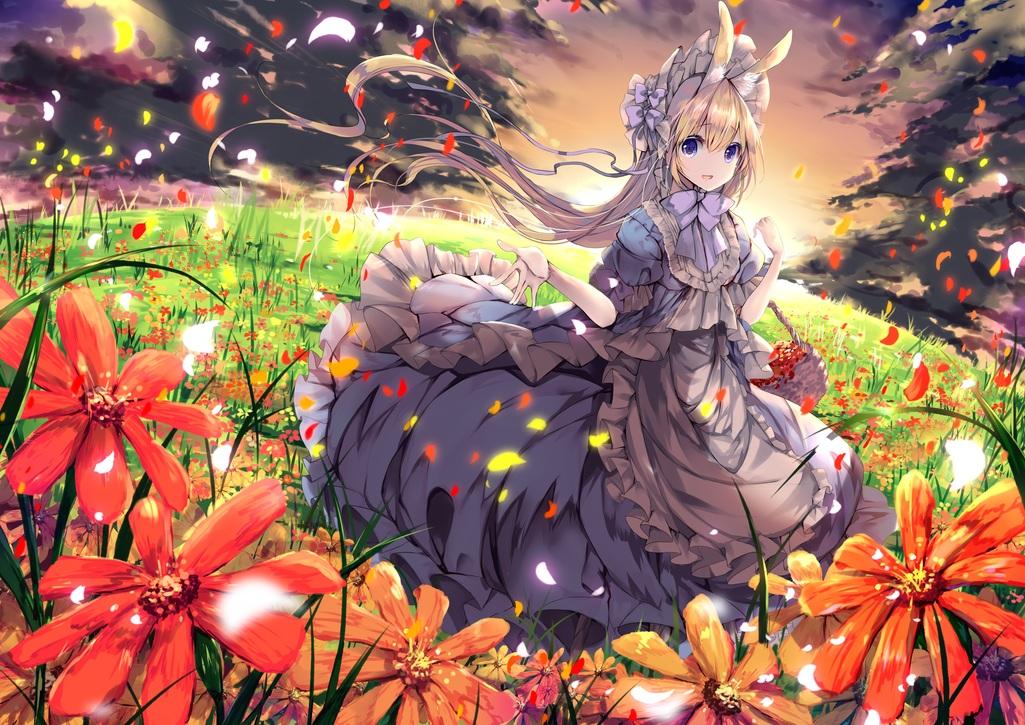 animal_ears blonde_hair blue_eyes bow bunny_ears bunnygirl clouds dress flowers grass headdress lolita_fashion long_hair original sky umi_no_mizu
