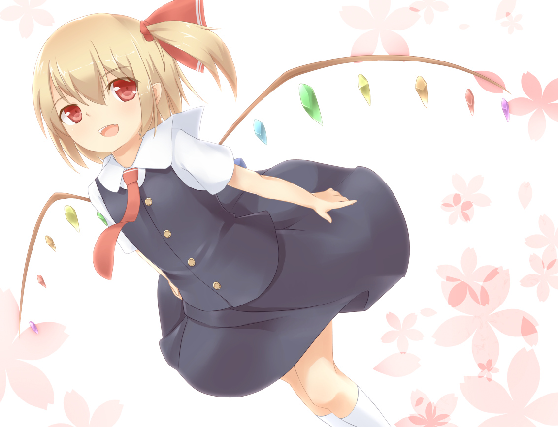 dress flandre_scarlet flowers sakurea tie touhou vampire wings