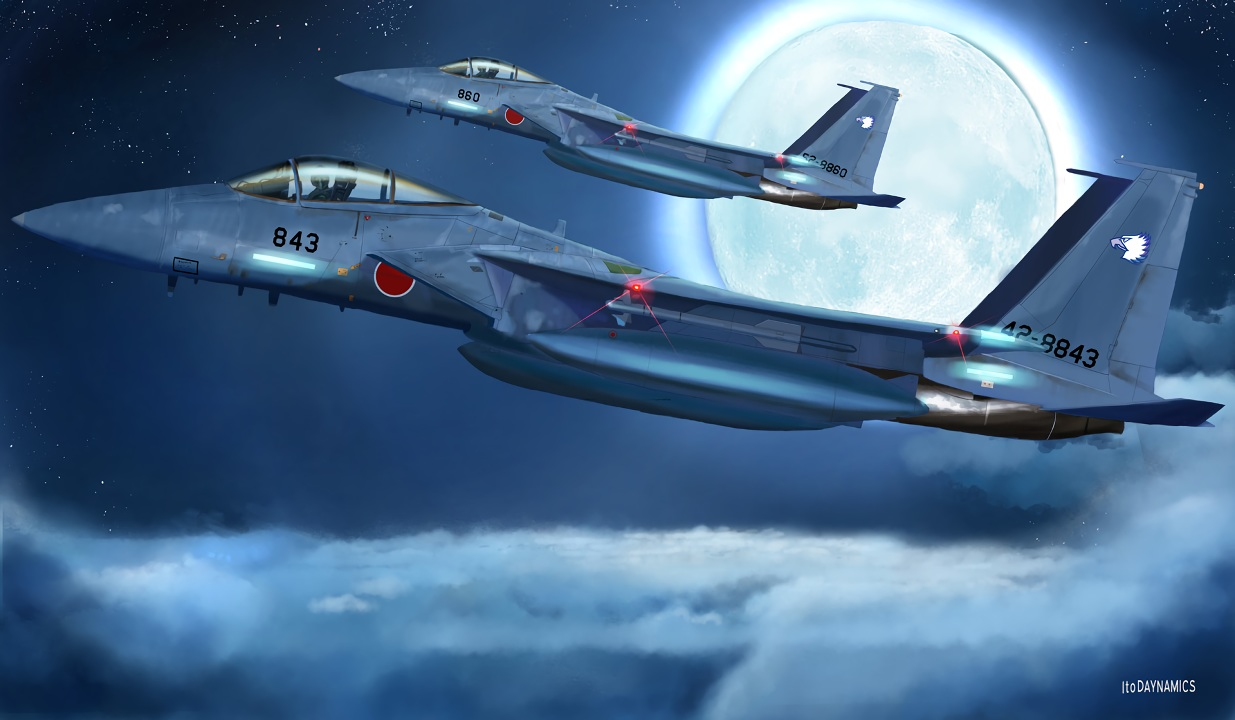 aircraft clouds combat_vehicle i.t.o_daynamics moon night original sky waifu2x watermark
