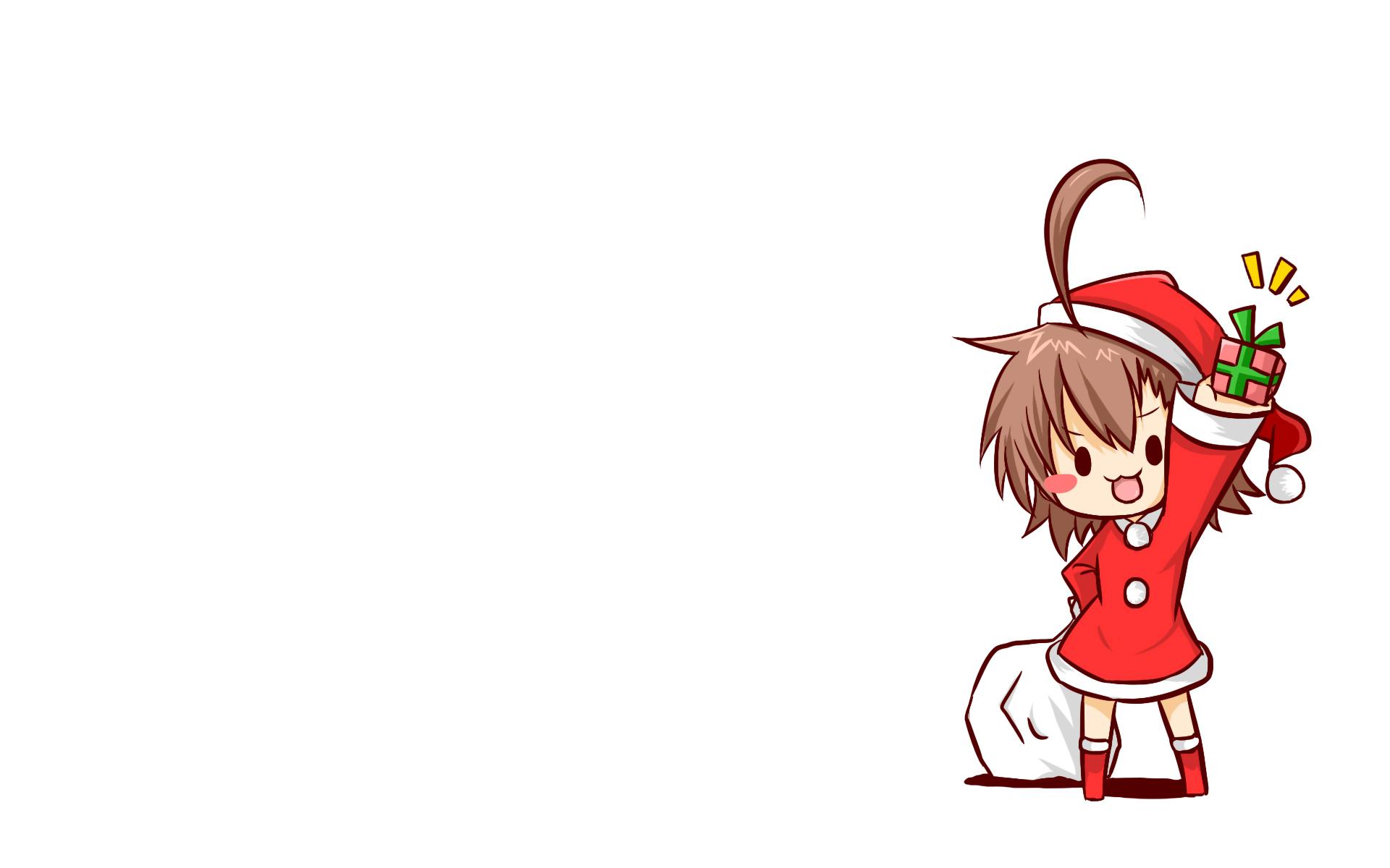 blush brown_hair chibi christmas hat last_order rubii santa_costume santa_hat short_hair to_aru_majutsu_no_index white