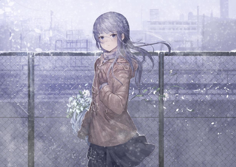 building flowers gloves koruse long_hair original petals purple_eyes purple_hair skirt snow winter
