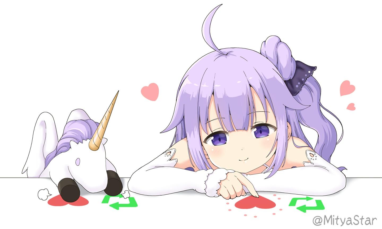 anthropomorphism azur_lane bongo_cat heart hms_unicorn_(azur_lane) loli long_hair miicha parody ponytail purple_eyes purple_hair waifu2x watermark white