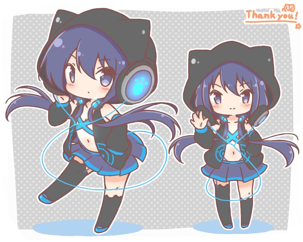 animal_ears anthropomorphism blue_eyes blue_hair chibi headphones hoodie long_hair mitarashi_neko navel original skirt thighhighs twintails