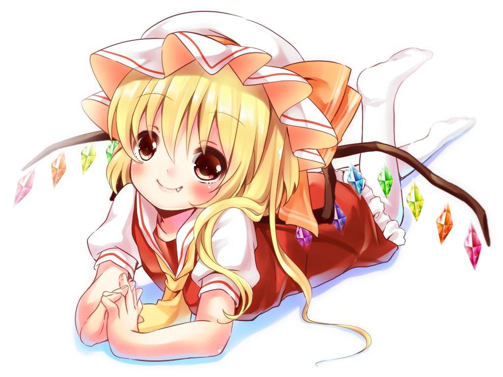 blonde_hair dress fang flandre_scarlet hat irori red_eyes touhou white wings