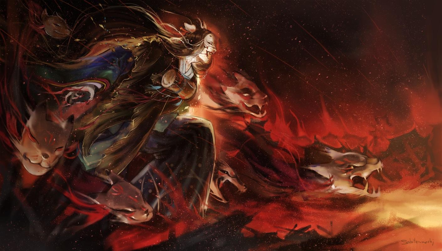 all_male animal animal_ears black_hair blood drums fire fox instrument japanese_clothes long_hair male mask onmyouji saboten_mochi signed tamamo_no_mae_(onmyouji)