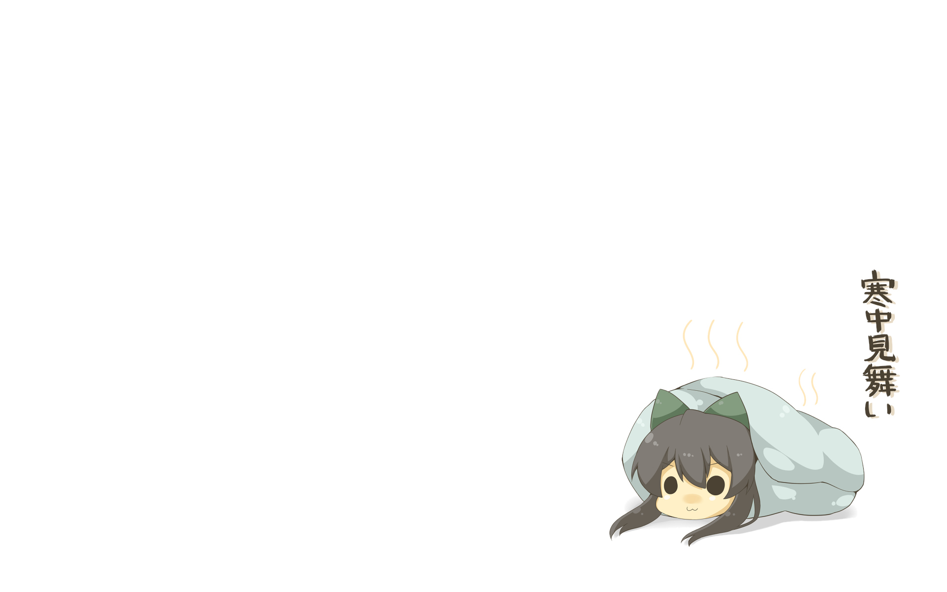 black_eyes black_hair bow cat_smile chibi haipa_okara reiuji_utsuho touhou white