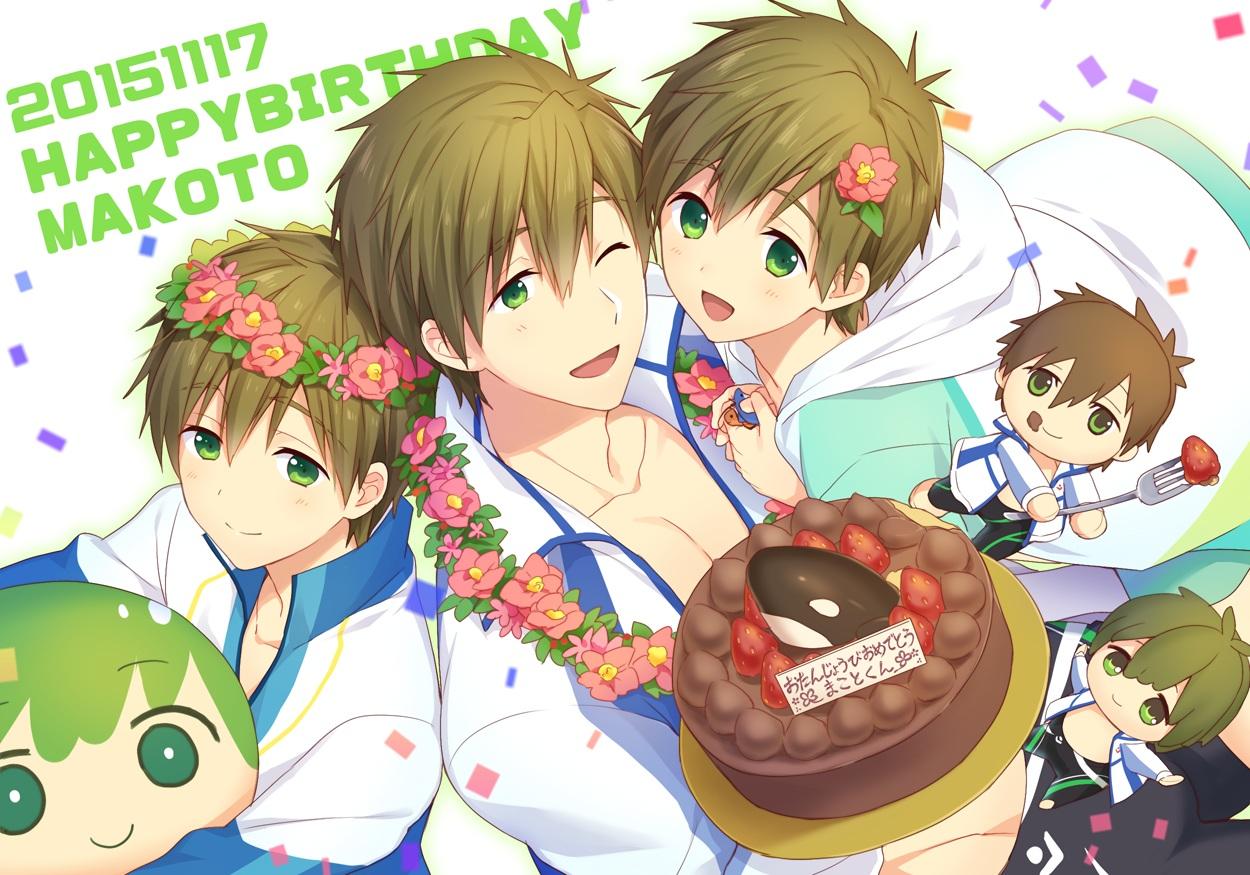 all_male brown_hair cake chibi flowers food free! fruit funikurikurara green_eyes headdress male short_hair strawberry tachibana_makoto wink